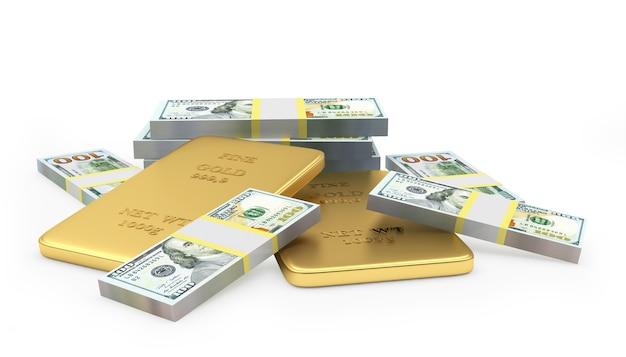 Hoop van goudstaven en 3d dollarbiljetten