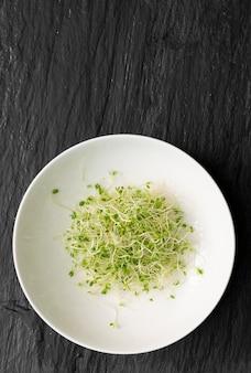 Hoop van rode klaver spruiten, luzerne en radijs spruiten op zwarte tafelblad weergave. gekiemde groentezaden voor rauw dieetvoedsel, micro groen gezond eten concept