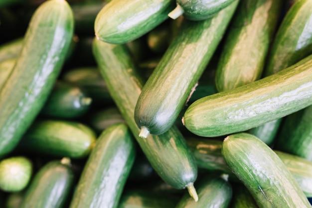 Hoop van verse groene komkommer