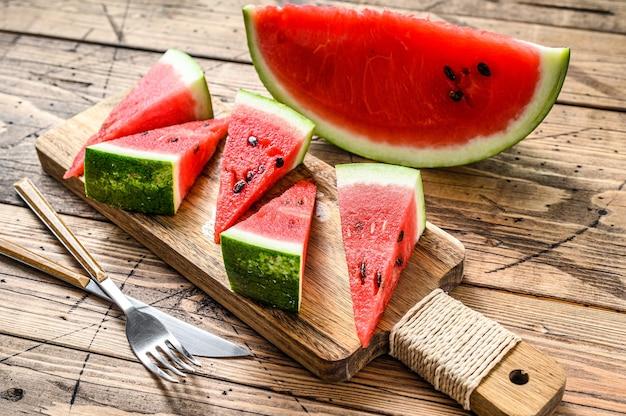 Hoop van verse rode gesneden watermeloen