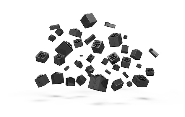 Hoop zwarte geschenkdozen geïsoleerd op een witte achtergrond