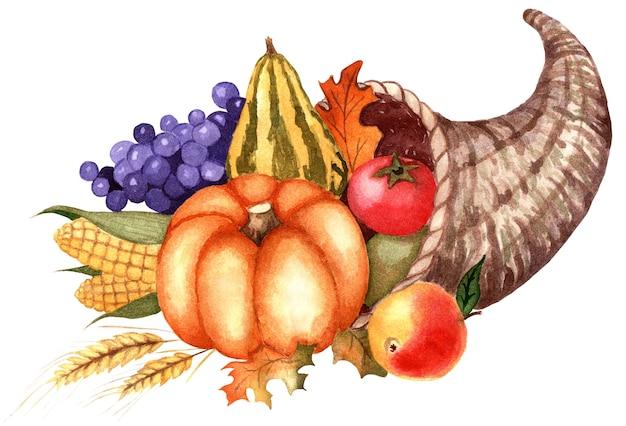 Hoorn des overvloeds mand met groenten en fruit oogstfeest dankzegging pompoen druiven maïs