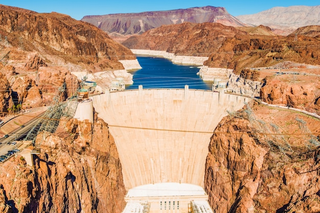 Hoover dam bij lake mead