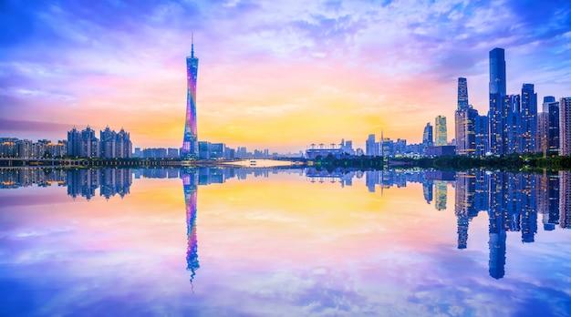 Horizon van stedelijk architecturaal landschap in guangzhou