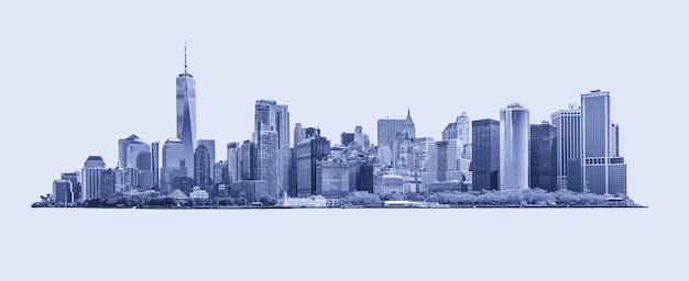 Horizonpanorama van het financiële district van de binnenstad en het lagere manhattan in de blauwe van new york city