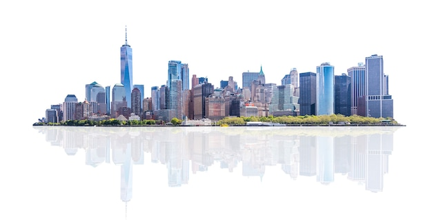 Horizonpanorama van het financiële district van de binnenstad en het lagere manhattan in de stad van new york, de v.s