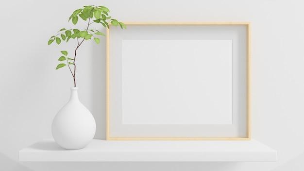 Horizontaal frame op een plank met plant minimale mock-up 3d-rendering