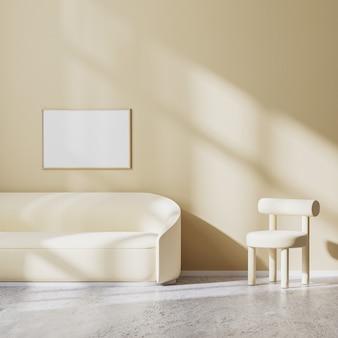Horizontaal framemodel in modern minimalistisch ontwerp van woonkamer met lichtbeige fauteuil en bank met zonnestralen op muur, beige muur en betonnen vloer, 3d-rendering
