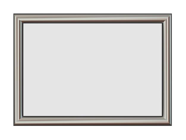 Horizontaal metalen frame voor uw foto's geïsoleerd op wit.