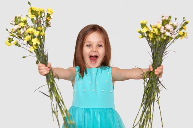 Horizontaal schot van blij klein kind houdt twee boeketten bloemen, opent mond geopend, roept uit van geluk, draagt blauwe jurk, geïsoleerd over witte muur.