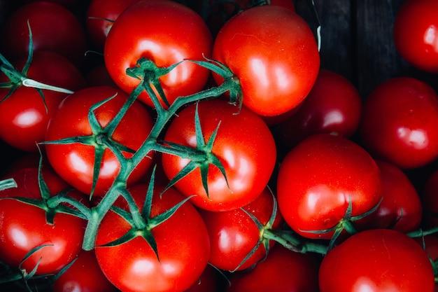 Horizontaal schot van enkele brunches van verse rode tomaten