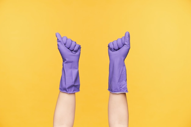 Horizontaal schot van opgeheven vrouwenhanden gekleed in violette rubberhandschoenen die tegen gele achtergrond worden geïsoleerd, die huis in haar weekend gaan schoonmaken