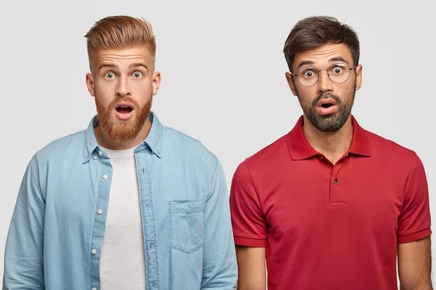 Horizontaal schot van twee verbijsterde, bebaarde mannen die reageren op plotseling nieuws, de mond openhouden, staren. gember mannelijke hipster staat naast zijn broer, spreekt zijn verbazing en groot ongeloof uit