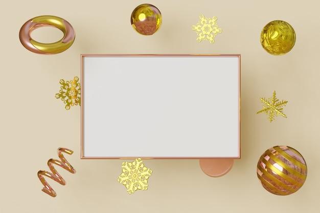Horizontale afbeeldingsframe gouden kleur vliegt op achtergrond met metalen sneeuwvlokken en ballen