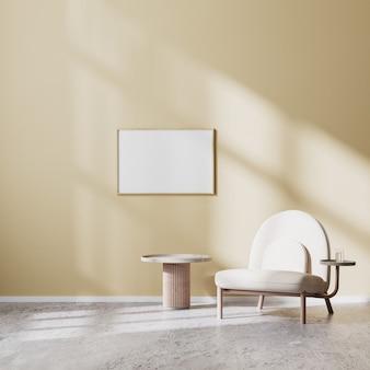 Horizontale frame mock up in moderne woonkamer interieur met beige fauteuil en salontafel met beige muur en betonnen vloer, scandinavische stijl, 3d-rendering