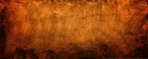 Horizontale gele en oranje grunge textuur cement of betonnen muur banner, lege achtergrond