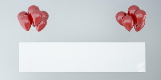 Horizontale poster met rode ballonnen