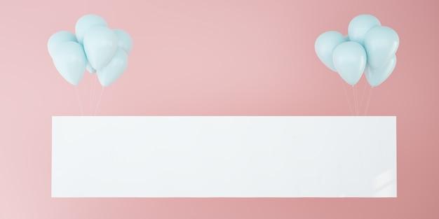 Horizontale poster mockup met roze ballonnen
