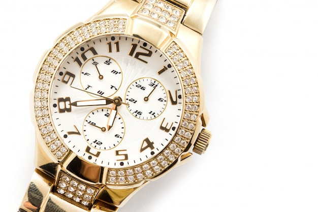 Horloge tegen witte achtergrond