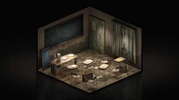 Horror en griezelig klaslokaal in de school, 3d illustratie isomatrisch.