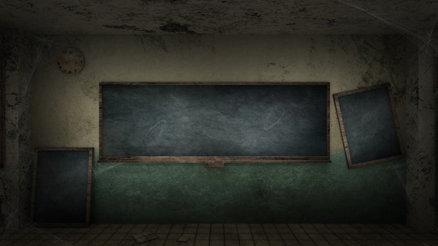 Horror en griezelig klaslokaal op een school
