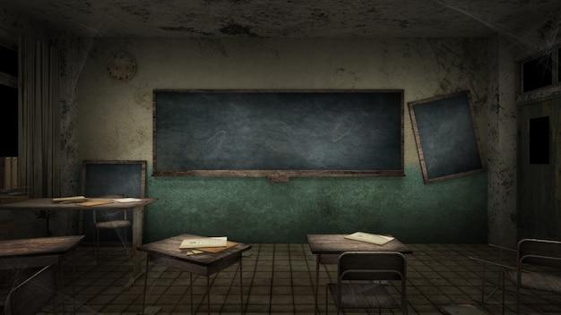 Horror en griezelig klaslokaal op school. 3d-weergave
