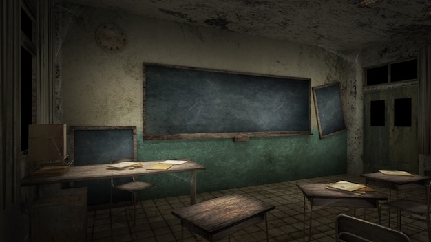 Horror en griezelig klaslokaal op school