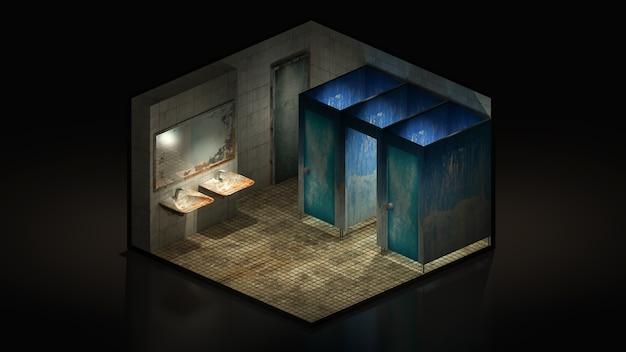 Horror en griezelig toilet in het ziekenhuis., 3d illustratie isomatrisch.