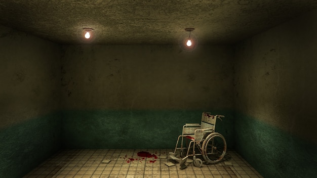 Horror en griezelig voorkant van de onderzoekskamer en rolstoel in het ziekenhuis. 3d-rendering