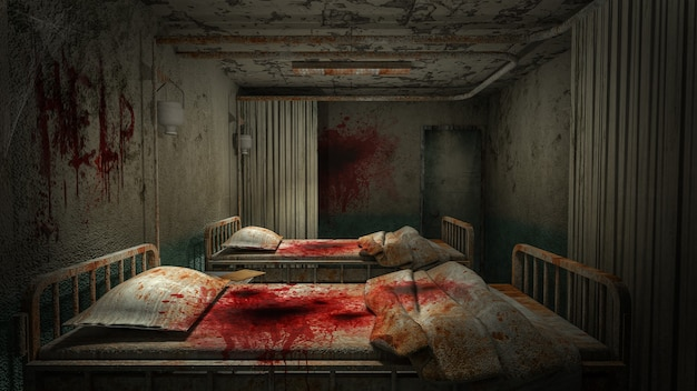 Horror en griezelige afdelingskamer in het ziekenhuis met bloed .3d-rendering