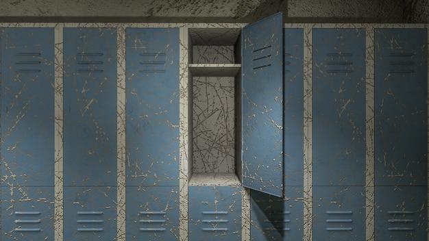 Horror en griezelige kleedkamer in het ziekenhuis met bloed .3d-rendering