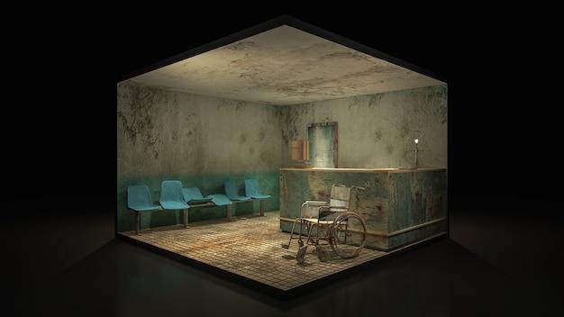 Horror en griezelige stoel wachten voor de onderzoekskamer in het ziekenhuis