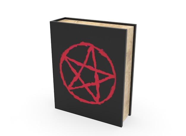 Horror spell boek op de achtergrond 3d-rendering