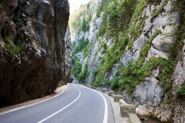 Horziontal schot van bicaz canyon weg in roemenië