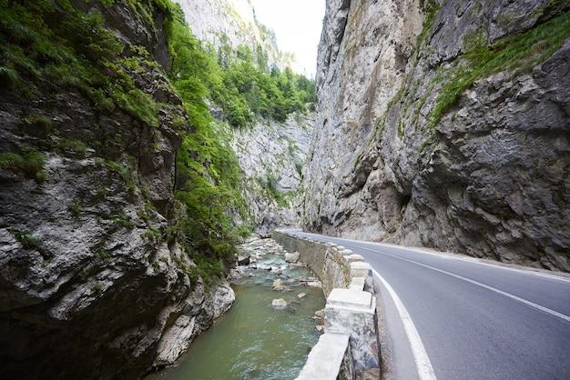 Horziontal shot van bicaz canyon road in roemenië