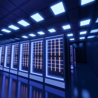 Hosting server computerruimte met blauw licht in het zwarte kleurenthema. 3d illustratie weergave.