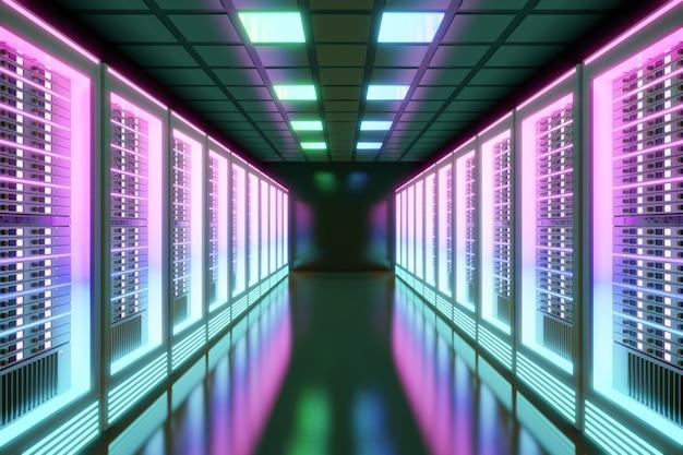 Hosting server computerruimte met kleurrijk licht in het zwarte kleurenthema. 3d illustratie weergave.