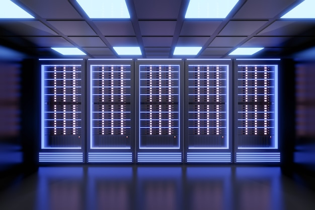 Hostingservercomputerrij met blauw licht in het zwarte kleurenthema. 3d illustratie weergave.