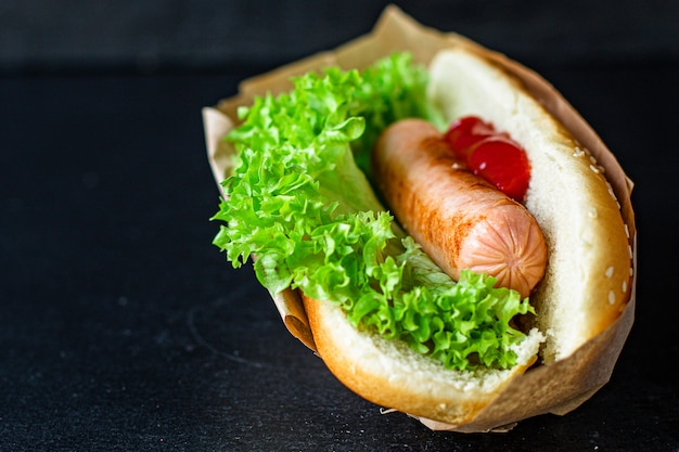 Hotdog fastfood worst sandwich en tomatensaus sla blad