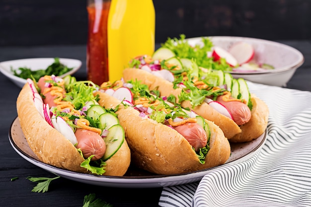 Hotdog met worst, komkommer, radijs en sla
