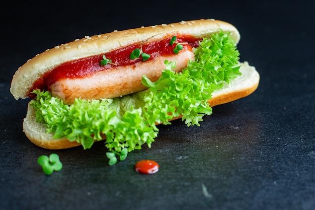 Hotdog sandwich fastfood worst tomatensaus sla