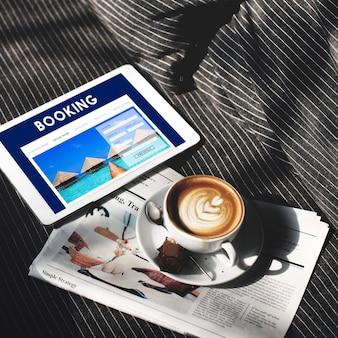 Hotel boeking reservering reizen receptie concept