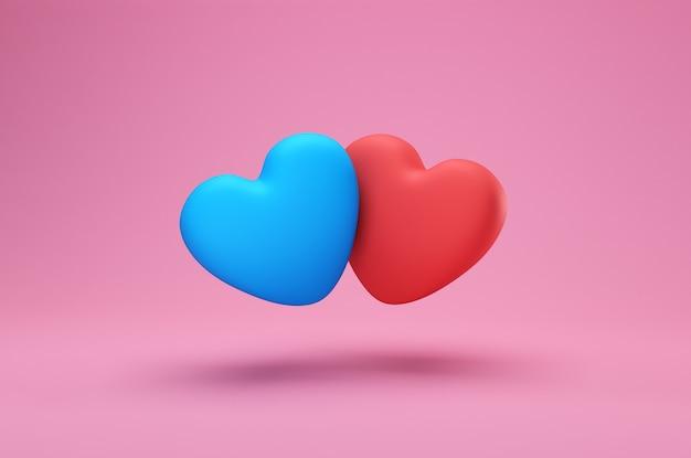 Hou van creatief concept. twee romantische blauwe en rode harten geïsoleerd op een roze achtergrond. valentijn kaart of web-sjabloon voor spandoek, 3d-rendering met kopie ruimte voor tekst