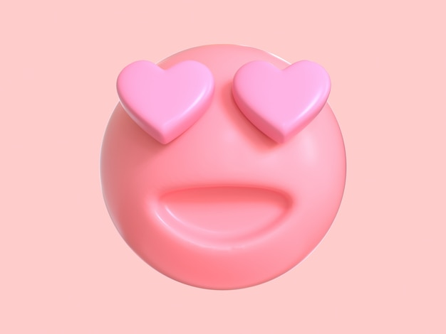Hou van emotie cartoon karakter roze emoji 3d render