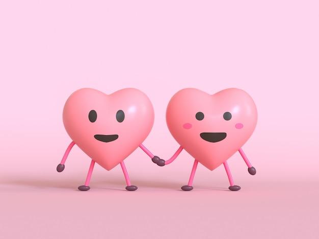 Hou van emotie cartoon karakter roze emoji 3d render