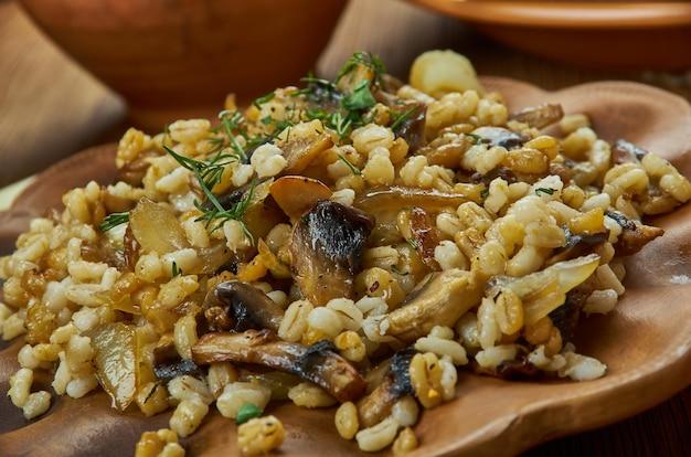 Houbovy kuba, gemaakt van champignons, gerst, gekarameliseerde uien en knoflook, en gekruid met marjolein en karwij, tsjechische keuken, traditionele diverse gerechten, bovenaanzicht.