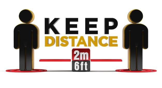 Houd afstand 2m-6ft beleidsteken 3d-weergave.