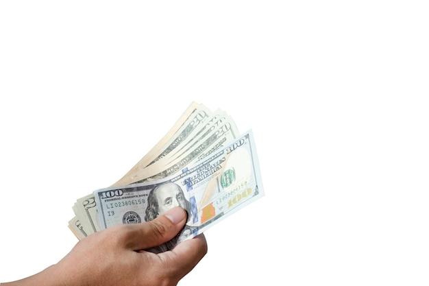 Houd de hand vast en geef dollarbankbiljet. geef en betaalconcept.