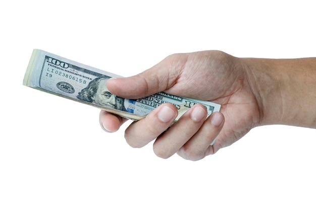 Houd vast en geef us dollar bankbiljet. contant geld en betalingsconcept.