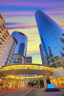 Houston downtown-zonsondergangwolkenkrabbers texas